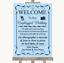 Blue No Phone Camera Unplugged Personalised Wedding Sign