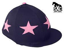 CUSTOM RIDING HAT SILK SKULL CAP COVER NAVY WITH LIGHT PINK STARS POMPOM SXC
