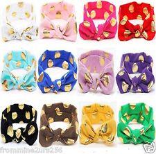 Baby Toddler Girls Gold Dot Turban Knot Cotton Headband Headwrap Head Wear