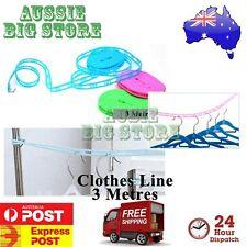3 Metre Adjustable Clothes line Hanger Non Slip Nylon Rope Liner Dry Air w hook