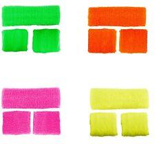 GIALLO fluorescente Elastici Braccialetti Fascia per capelli luminosi braccialetti Costume 80s 90