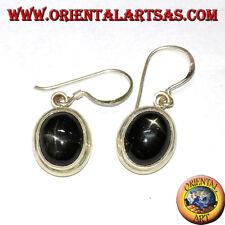Orecchini pendenti in argento 925‰ con Black star ( Diopside stellato ) ovale