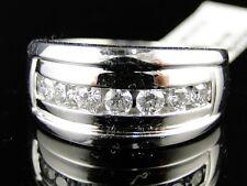 14K Mens White Gold 1 Row Real Wedding Band Diamond 12 Mm Ring 1 Ct