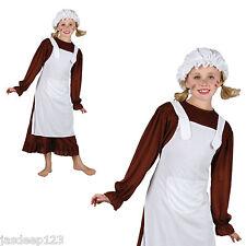 Ragazza VITTORIANA Fancy Dress Costume DRESS UP VESTITO GIORNATA MONDIALE DEL LIBRO Bambino Marrone