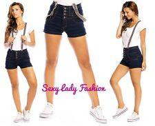 Womens Sexy High Waist Denim Jeans Shorts with Braces Summer Dark Blue