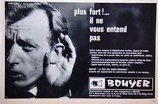 PUBLICITÉ 1963 BOUYER ÉQUIPEMENT DE SONORISATION PLUS FORT IL NE VOUS ENTEND PAS
