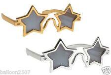 70s 80s ELTON JOHN ROCKET GOLD SILVER STAR FANCY DRESS SPECS GLASSES SUNGLASSES