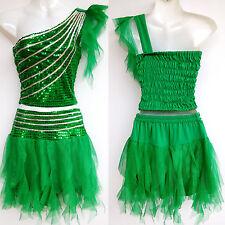 Kinder Mädchen Damen Cheerleader-Kostüm/Kleid Fasching/Cosplay Grün Gr.98-188