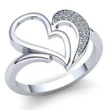 0,15ctw Redondo Brillante Corte Diamante Mujer Corazón Amor Anillo Aniversario