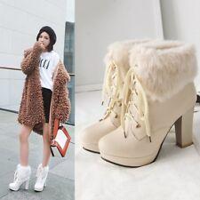 Grace Ladies Ankle Boots Fur High Heels Platform Lace up Casual Shoes UK Size