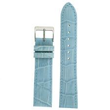 Watch Band Light Blue Genuine Leather Alligator Grain