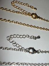 """50pcs X 18 """"Argento e Oro Tono BELLE cordolo Catene con Fermagli & Extentions 2 x 3mm"""