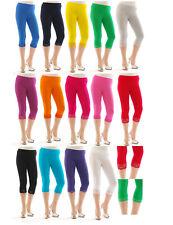 Capri 3/4 Leggings Spitze Damen Spitzen-Rand Hose Baumwolle Wäsche Leggins