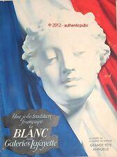 PUBLICITE CATALOGUE BLANC LINGERIE SOIE GALERIES LAFAYETTE ANNEE 50 AD ADVERT