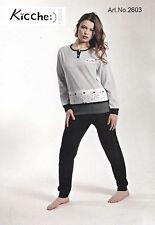 Pigiama donna lungo con elastici KICCHE YOUNG 2603 Maglia lunga, pantalone lungo