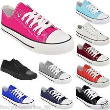 New Ladies Women Girls Flat Lace Up Canvas Plimsolls Trainer Skater Pumps Shoes