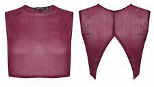Ex Boohoo Purple Red Open Back Crop Camisole Tank Vest Rib Top Size 8 10 12 14