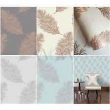 Holden décor FAWNING plume Metalique mat Papier peint - argent cuivre Doré Rose