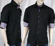 BERTIGO RAMOS/18 Men's woven Dress Shirt Black purple stripes
