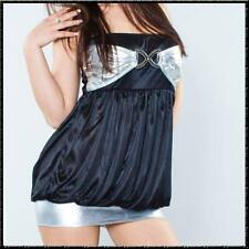 Ligeramente transparente bandeau vestido-Top mini super delgado sustancia negro plata