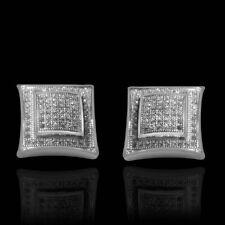 Mens 14k White Gold Finish Real Silver Square Kite Diamond Earrings Studs