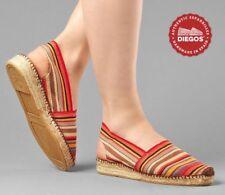 Diegos® Original Spanish Handmade Red Stripes Catalina low wedge Espadrilles