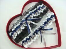 NEW Navy Blue Silver White Black Wedding Garter SEL:Single,Set,Reg,+ Size,Charm