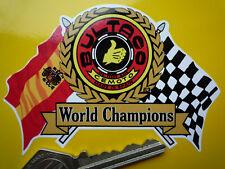 BULTACO Flags & Scroll Classic Motorcycle or Helmet STICKER Bike Cemoto Champion