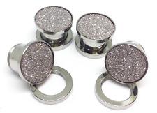 Pair Stainless Steel Ear Plugs Screw Gauges Flesh Tunnels Earring Glitter 00G