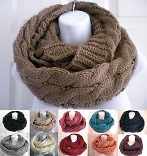 Women Men Winter Warm Infinity Circle Cable Knit braided Long Scarf Shawl Wrap