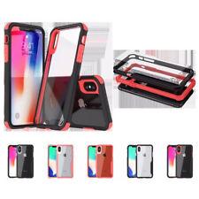 10pcs/lot HD Transparent 2 in1Hybrid Shockproof Hard Case For iPhone Samsung S9+