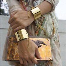 New Punk Women's Gold Silver Metallic Wide Chain Adjustable Bracelet , US SELLER