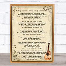 Whitney Houston salvare tutto il mio amore per te Canzone Lyric vintage stampa preventivo