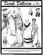 German Renaissance Gowns 1500-1545 era -  Period Patterns Sewing Pattern 46 SCA