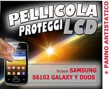 3x Pellicole protezione LCD per SAMSUNG S6102 GALAXY Y DUOS + PANNO ANTISTATICO