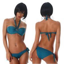 Bikini donna costume da bagno mare balconcino medaglione strass 2 pezzi nuovo