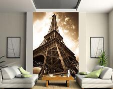 Papier peint géant 2 lés, tapisserie murale déco Tour Eiffel Sépia réf 133