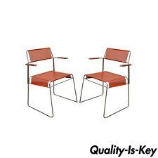 Pair of Vintage Tomado Mid Century Modern Stacking Chrome Metal Mesh Arm Chair B