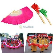 Colorful Silk Veil Folk Art Chinese Belly Dance Square Dancing Bamboo Short Fan