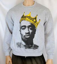 Tupac Shakur King Crown Mens Sweatshirt Crewneck Sweater Hip-Hop NWA 2pac