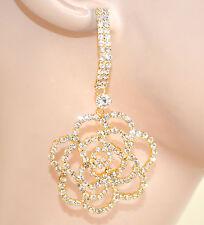 ORECCHINI donna ORO eleganti STRASS cristalli pendenti da cerimonia feste E65