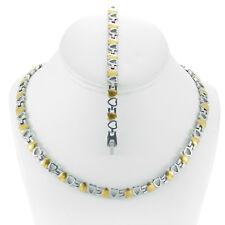 Hugs & Kisses DOUBLE HEART Necklace Bracelet Set Stampato Two Tone 18/20''