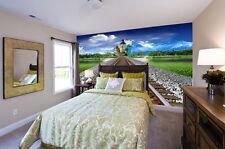 3D Rail Paysage 2 Photo Papier Peint en Autocollant Murale Plafond Chambre Art