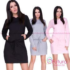 Ladie's Casual Mini Dress Long sleeves Drawstring Waist Dress One Size 1428
