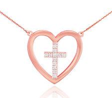 14K Rose Gold Open Heart 12 Diamonds Cross Necklace