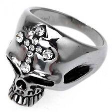 Edelstahl- Ring Skull- Face Totenkopf Chromglanz mit Strass- Kreuz