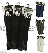 3 paires de nœud filles Chaussettes Hautes Genoux, blanc gris ruban noir long