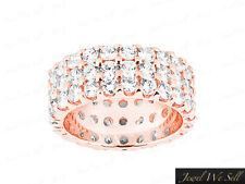 Natural 6.60Ct Round Brilliant Diamond 3Row Eternity Band Ring 14K Gold G-H I1
