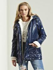Womens Borg Trim Coat Mac Waterproof Raincoat Ladies Navy Jacket Size 8 - 16