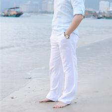 Chinese Style Mens Linen Loose Pants Drawstring Casual Long Slacks Trousers